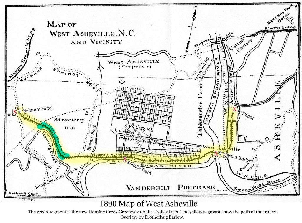 1890 Map of West Asheville showing Trolley Route with overlays